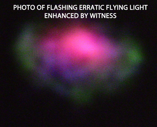 ENHANCED PHOTO OF ERRATIC FLYING FLASHING LIGHT.