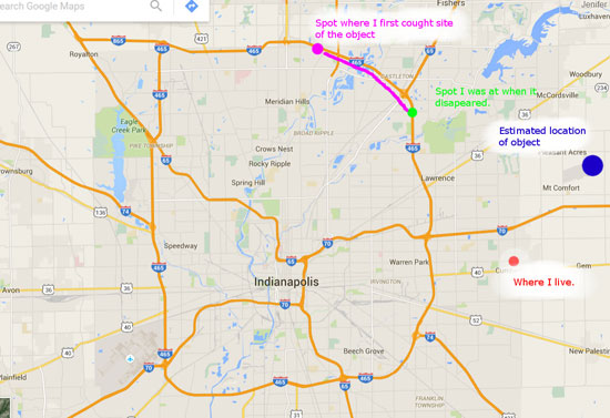 MAP OF SIGHTING LOCATION PREPARED BY WITNESS.