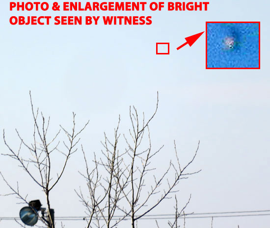 ENHANCED PHOTO & ENLARGEMENT OF FLASHING OBJECT SEEN BY WITNESS.