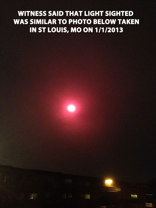 """PHOTO POSTED ON """"VIKE FACTOR"""" WEBSITE OF RED LIGHT FROM JAN 1, 2013 SIGHTING IN ST LOUIS, MO."""