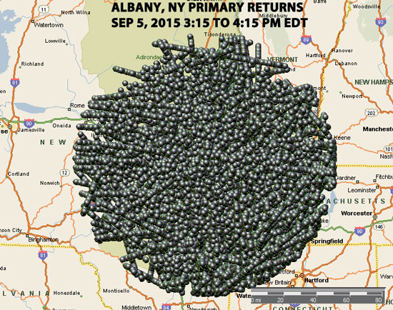 MAP OF ALL PRIMARY RADAR RETURNS ALBANY, NY 9/5/2015.