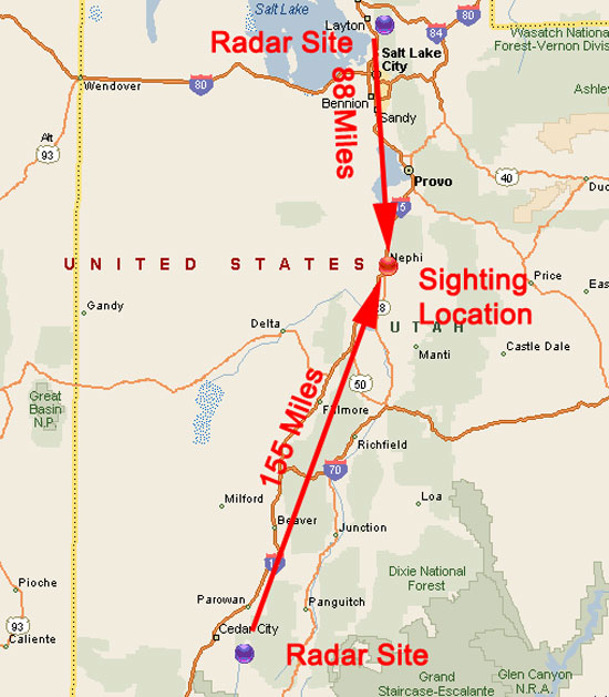 FIG 6 LOCATIONS OF RADAR SITE AND POSSIBLE UFO SITE.