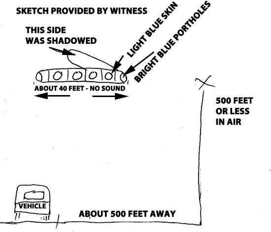 SKETCH OF OBJECT PROVIDED BY WITNESS.