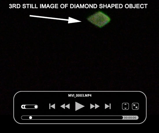 3RD STILL IMAGE OF DIAMOND SHAPED OBJECT EXTRACTED FROM VIDEO.