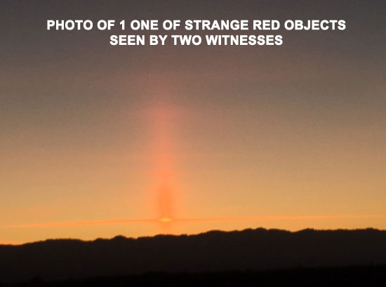 PHOTO OF 1 OF STRANGE RED OBJECTS SEEN BY 2 WITNESSES.