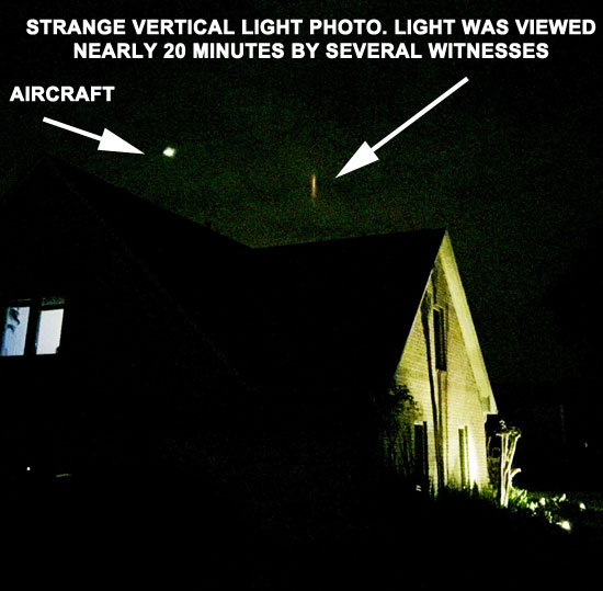 PHOTO OF UNKNOWN VERTICAL LIGHT SEEN BY SEVERAL WITNESSES.