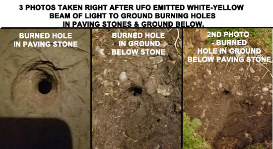 PHOTO COLLAGE OF HOLES BURNED THRU PAVING STONES & GROUND BY BEAM OF LIGHT FROM UFO.