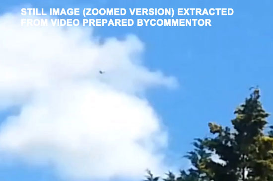 2ND (ZOOMED) IMAGE OF UFO SENT BY COMMENTOR.