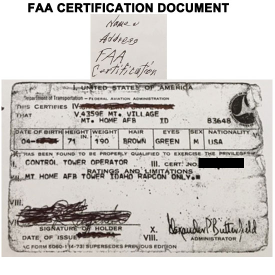 FEDERAL AVIATION ADMINSTRATION CERTIFCATION.