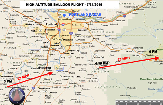 RADAR MAP SHOWING FLIGHT OF HIGH ALTITUDE BALLOON.