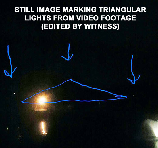 STILL IMAGE OF TRIANGULAR LIGHTS EDITED BY WITNESS.