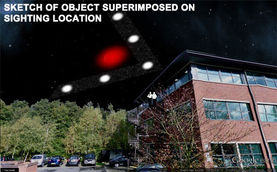 SKETCH OF V SHAPED OBJECT SUPERIMPOSED ON SIGHTING LOCATION.