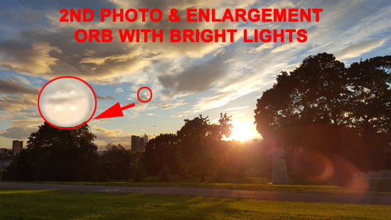 2ND PHOTO & ENLARGEMENT - ORB WITH BRIGHT LIGHTS.
