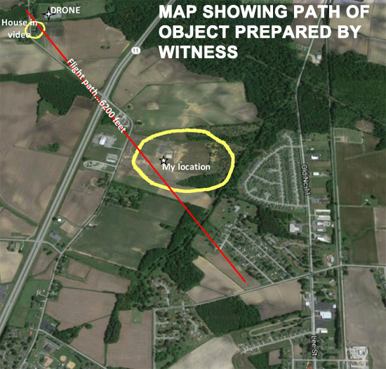 MAP SHOWING PATH OF OBJECT PREPARED BY WITNESS.