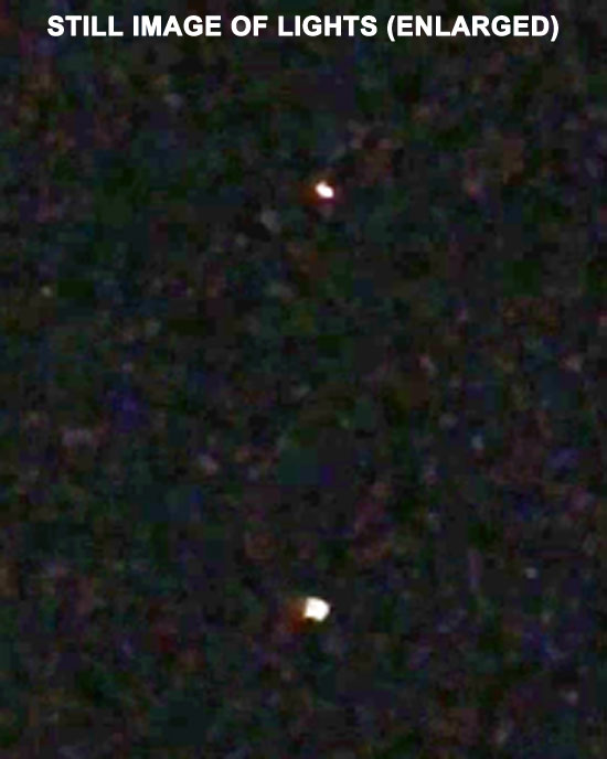 STILL IMAGE OF LIGHTS EXTRACTED FROM VIDEO. (ENLARGED ABOUT 2.5X.)