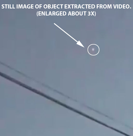 STILL IMAGE OF WHITE HOVERING OBJECT.