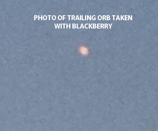 PHOTO OF TRAILING ORB TAKEN WITH BLACKBERRY.