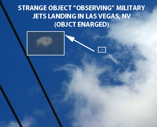 PHOTO & ENLARGEMENT OF OBJECT OBSERVING MILITARY JETS LANDING IN LAS VEGAS.