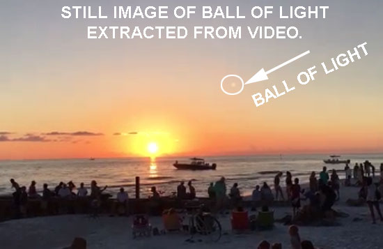 STILL IMAGE OF BALL OF LIGHT EXTRACTED FROM VIDEO.