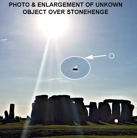 PHOTO & ENLARGEMENT OF UNKNOWN OBJECT OVER STONEHENGE.