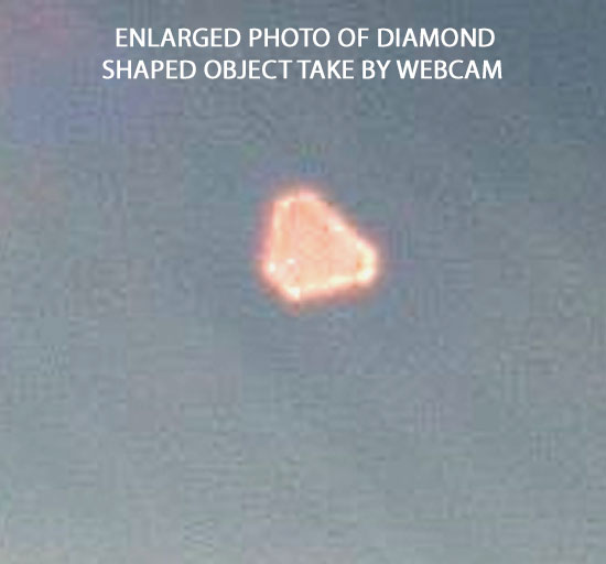 ENLARGED PHOTO OF DIAMOND SHAPED OBJECT TAKEN BY WEBCAM.