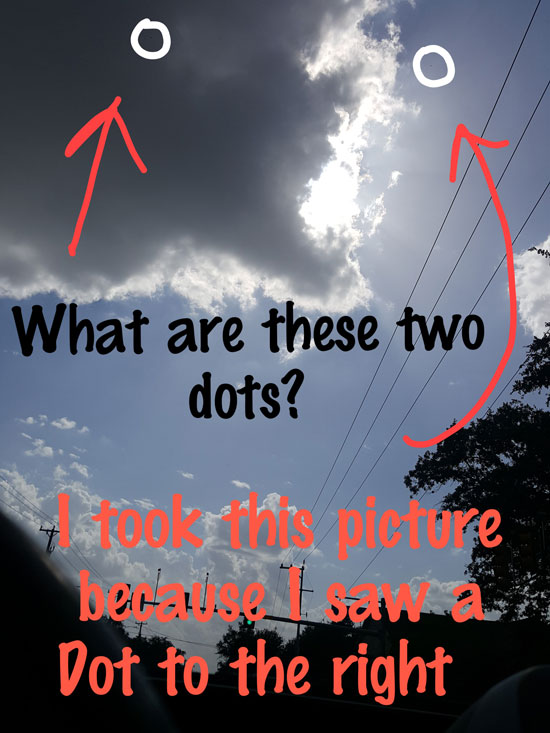 WITNESS ANNOTATED PHOTO OF DOT SIZED OBJECTS.