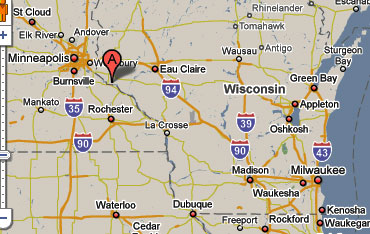 Sighting Reports - Map of wisconsin and minnesota
