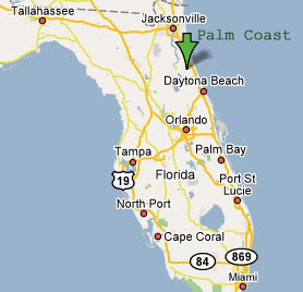 palm coast on florida map