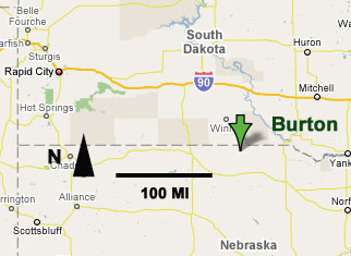 Map Showing Location of Burton, Nebraska.