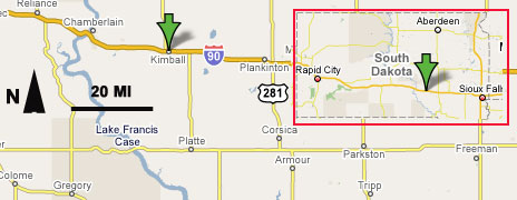 Location of Sighting by Hunting Party at Kimball, South Dakota