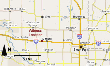 Map Showing Location of Witness When Experienced Sighting.