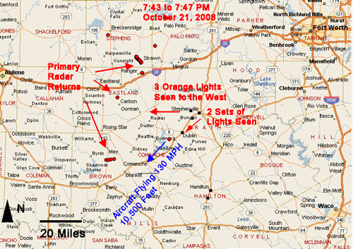Map Showing Radar Returns & Witness Reports  in Stephenville, Texas on October 21, 2008.