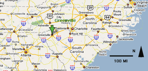 Map Showing Location of Greenville, South Carolina.
