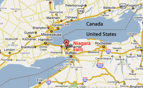 Map Showing Location Of Niagara Falls