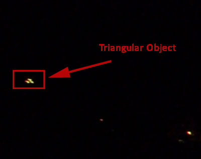 First Still Image Extracted From Video Showing Triangular Object.