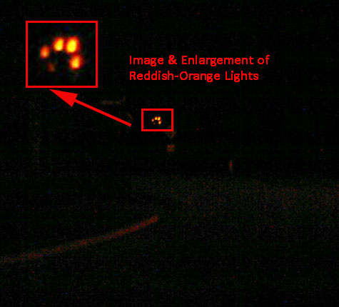 Photo and Enlargement of Orange-Red Lights. (Taken Around 9 PM on September 15, 2010.)