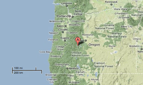 Sighting Reports - Map of western oregon