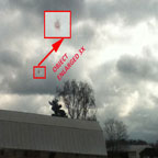 Photo and Enlargement of Object Near Cloud Deck.