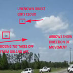 Still Image of Strange Object That Exited Cloud Near Takeoff of an Airliner.