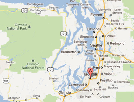 Tacoma is in Western Washington About Half Way Between Seattle and Olympia.