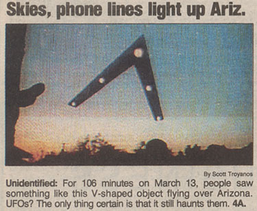 Headline Caption From USA Today Newspaper - June 18, 1997 - Phoenix Lights
