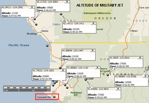 Chart Showing the Alitude (in Feet) of the Miltary Jet. Times GMT.