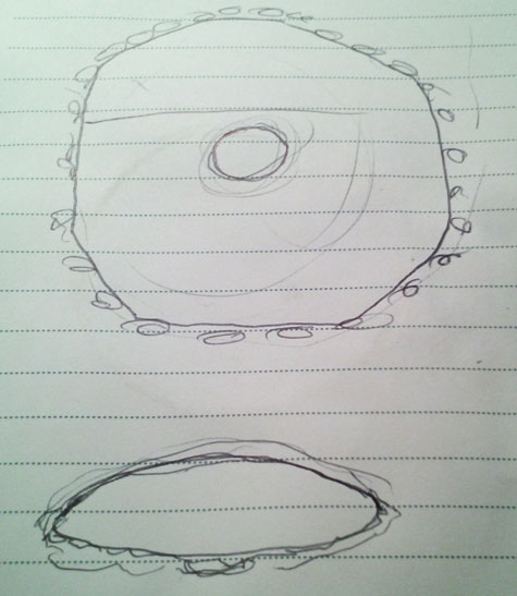 Sketch of Object by Witness Showing Bottom & Side View.
