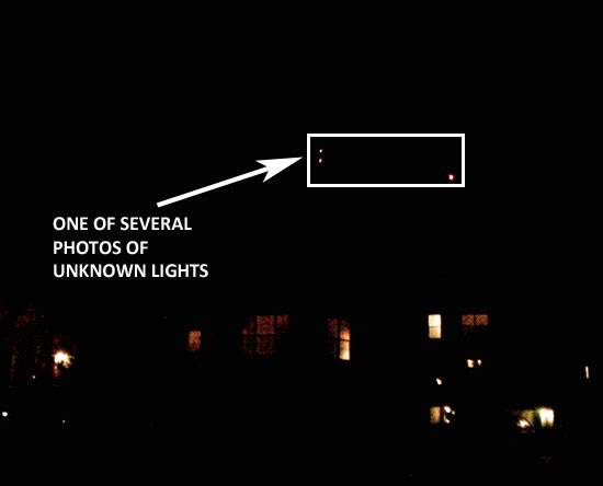 IMAGE SHOWING 3 LIGHTS IN TRIANGLE FORMATION. SEVERAL PHOTOS TAKEN.