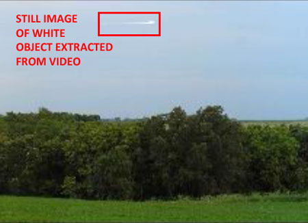 STILL IMAGE OF WHITE OBJECT EXTRACTED FROM VIDEO.