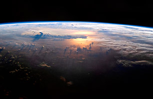 View of the Pacific Ocean From Space. An Ideal Spot For Extraterrestrial Microbes to Land.