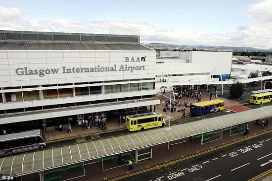 Approach: The plane was 13 miles away from Glasgow Airport (pictured) when it came within seconds of colliding with the unidentified object.
