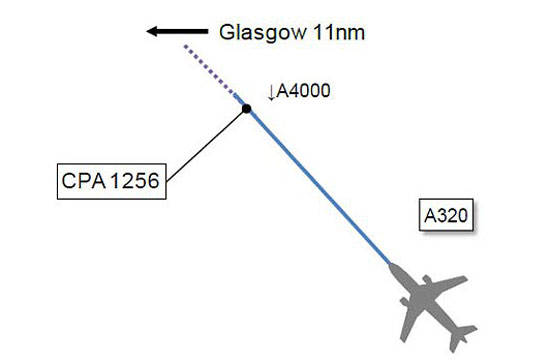 Near miss: A diagram in the report which shows the pilot's direction of travel and the unidentified object which is marked as 'CPA 1246'.
