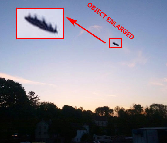 PHOTO & ENLARGEMENT OF OBJECT SEEN & PHOTOGRAPHED BY WITNESS.