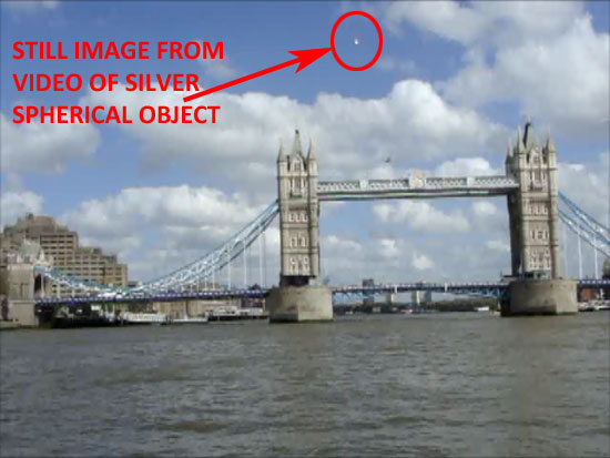 STILL IMAGE EXTRACTED FROM SILVER SPHERICAL OBJECT VIDEO.